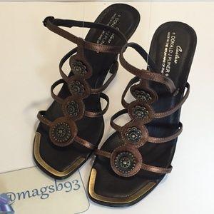 Donald J Pliner Metallic Heeled Sandals Size 9
